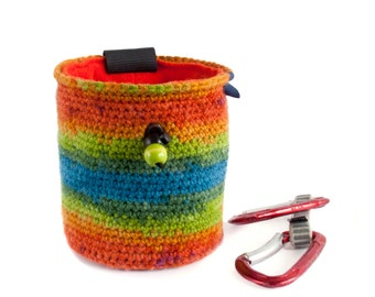 Rainbow Chalk Bag. Climbing Chalk Bag. Gift for Climber. Chalkbag for a Rock Climber, M Size