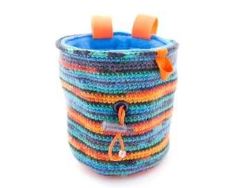 Knit Chalk Bag Attach Harness, Bouldering and Rock Climbing Gift Designs for Women or Men, M Size