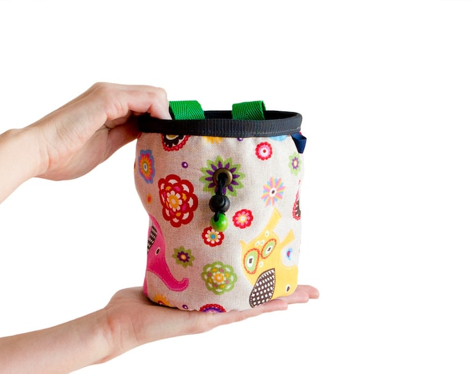 Cool Chalk Bag. Bouldering Chalk Bag. Large Chalk Bag for Rock Climbing, Elephant Print Chalkbag Size L