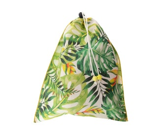 Drawstring Pouch Cotton, Drawstring Pouch Canvas, Drawstring Pouch Bag, Cute Floral Green Purse for Golf, Underwear Gift Bag H34/W28cm