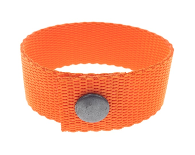 Mens Bracelet Cuff, Custom Personalised Length Rustic Fashion Jewelry, from Large to Small Size. Unisex. Orange. 25 mm