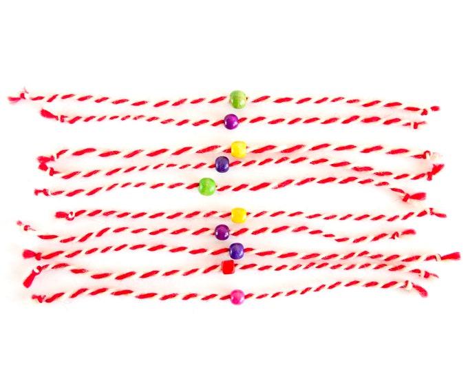 10 Handmade Martenitsa, Martenitsi, Martenichki, Baba Marta, Bulgarian Martenitsa, Bulgarian Souvenirs Of Red And White Yarn, Set of 10.
