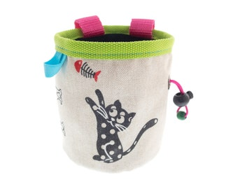 Girls Chalk Bag, Small Rock Climbing Wall Chalk Bag for Trad Bouldering, with Cat. S Size