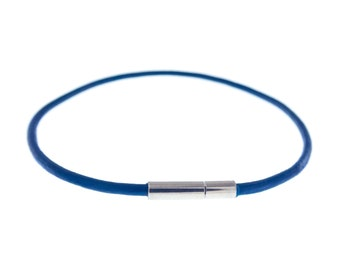 Mens Blue Leather Bracelet, Male Wrap Wrist Cord Cuff, Cool Rope Thin Guys Wristband. 2 mm