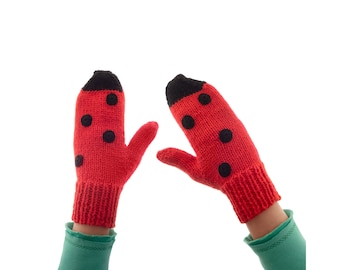 Adults Mittens, Warm Knitted Winter Mitts, Red Novelty Girls Womens Ladies Handmade Gloves