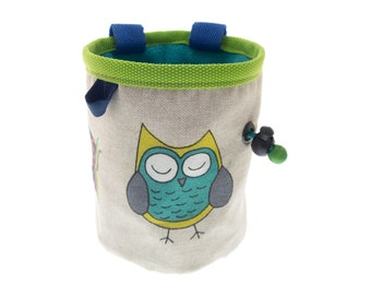 Canvas Chalk Bag Attach Harness, Bouldering or Rock Climbing Tote for Climb Gym for Girls, Ladies. M Size