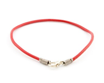 Mens Leather Rope Bracelet. Men's Leather Bracelet Thin Red Cord. Mens Leather Bracelet Unique. For Couples. For S to XL Wrist. 2 mm