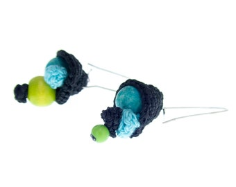 Mismatched Dangle Earrings Jewelry, Mismatched Dangle Earrings Knitting, Pair of Mismatched Dangle Earrings Womens Unique Statement Green