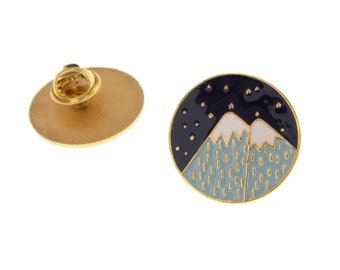 Mountain  Enamel Pin Jewelry, Travel Badge Brooch Lapel Pin, Rock Climber Gift Idea Camping Enamel Pin