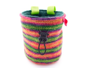 Knitted Climbing Chalk Bag, Knit Attach on Harness Bouldering Bag, Ladies and Mens Rock Climbing Gift for Valentines or Xmas. M Size
