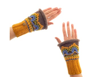 Mittens Knitted for Adults, Autumn Embroidered Gloves Ladies, Womens Crochet Mittens Fingerless