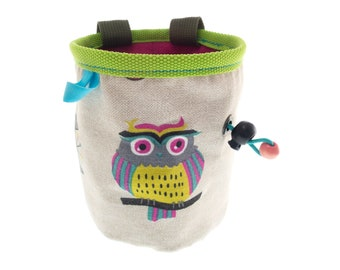 Handmade Chalk Bag for Rock Climbing and Bouldering, Cool Climbers Chalk Bucket Bag. Size M