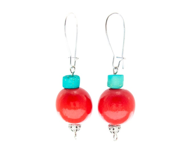 Dangle Ball Earrings, Ball Earrings Dangle, Dangle Drop Ball Earrings, Colorful Red Wood Statement Jewelry