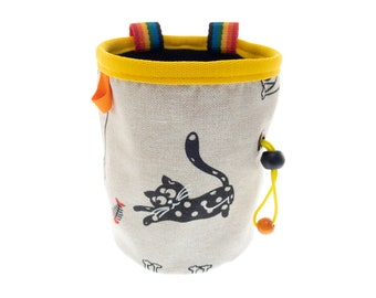 Chalk Bag for Climbing, Cute Rock Climbing Drawstring Pouch, Best Equipment for Climbers Chalk Bucket with Cats. L Size
