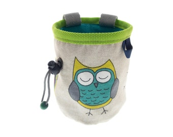 Girls Chalk Bag, Small Rock Climbing Wall Chalk Bag for Trad Bouldering, with Owls. S Size
