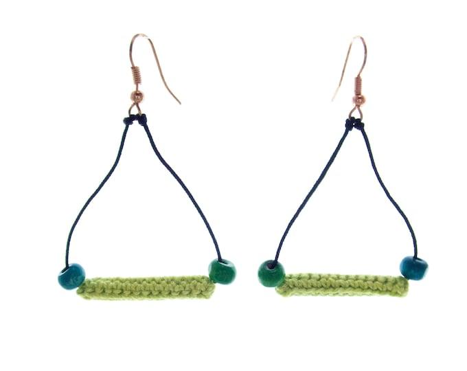 Triangle Earrings Dangle and Drop Earrings, Triangle Earrings Dangle Jewelry Triangle Abstract Earrings Crochet Bar Geometric Long Statement