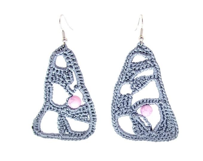 Lace Earrings Wedding, Lace Bridal Earrings, Lace Chandelier Earrings, Crochet Drop Dangle Effect Hoop Handmade Grey Silver Color