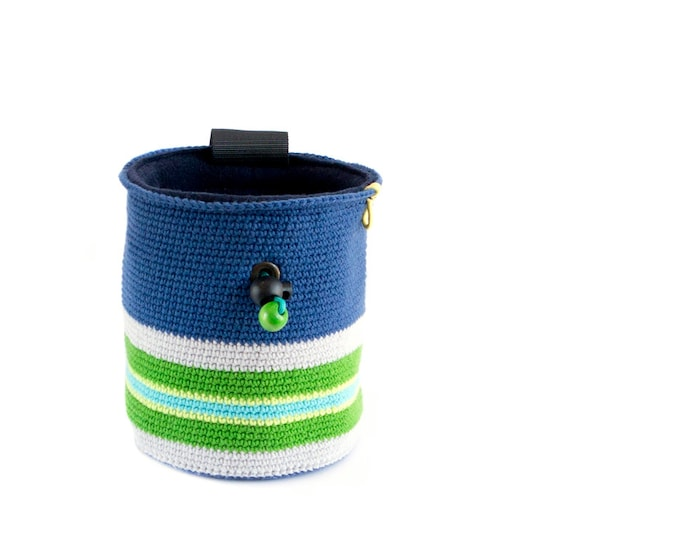 Chalk Bag for Rock Climbing. Chalk Bag for Climbing. Chalk Bag for Bouldering. Handmade. Knitted, Crocheted And Fair Trade, L Size