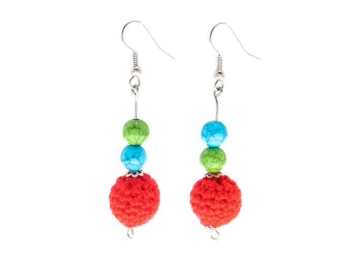 Fashion Statement Earrings Handmade, Statement Earrings Red, Statement Earrings Dangle, Mismatched Trend, Colorful, Designer Elegant Formal