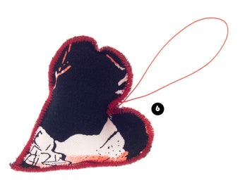 Cute Valentines Gift for Boyfriend Abroad. Cute Gift for Boyfriend Valentines Day. Black Red Stuffed Heart