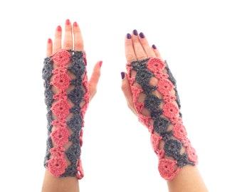 Best Wrist Warmers Fingerless Gloves, Ladies Knit Arm Warmers, Wool Crochet Hand Cuff Mittens