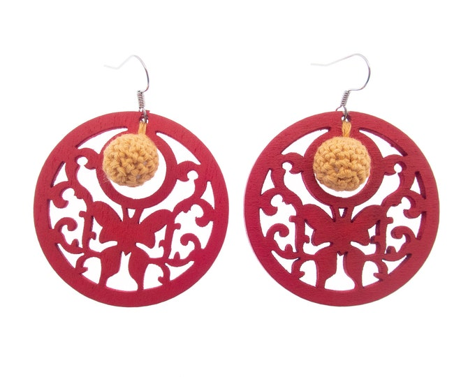 Red Hoop Earrings, Red Earrings, Red Hoop Ball Earrings. Big Boho Dangle Hoops Large Circle with Cute Beaded Ball