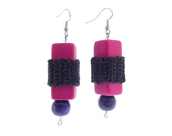 Big Earrings for Women Square, Big Earrings Dangle, Big Earrings that Are Lightweight, Pink Black Colorful Elegant for Evening