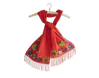 Scarf Women Knitted, Handmade Winter Christmas Orange Wool Shawl, Designer Spring Floral Ladies Scarf
