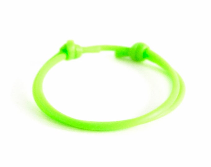 Non Metal Bracelet Designs, Non Metal Jewelry, Green Silicon Adjustable Rope Bracelet. 2 mm