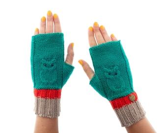 Fingerless Gloves Womens, Cashmere Winter Half Finger Mittens, Ladies Winter Fingerless Gloves