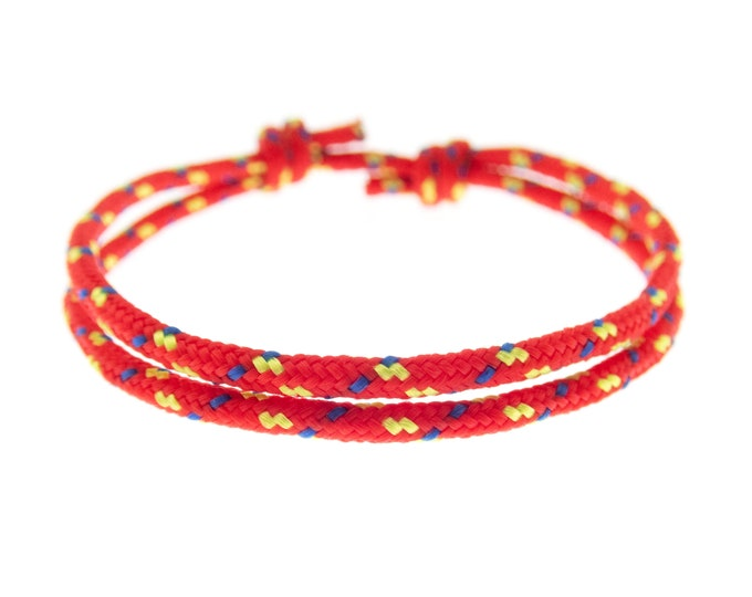 Protection Bracelet Red Adjustable Cord for Adults, Womens Mens Kabbalah Rope Cuff. 2 mm