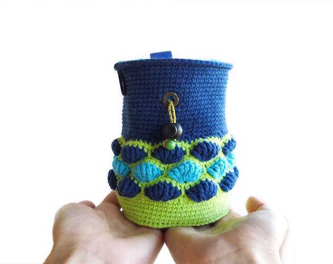 Rock Climber Chalk Bag. Indoor Rock Climbingand Outdoor Gift Idea. Crochet Chalkbag - M Size