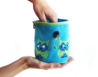 Climbing Chalk Bag. Bouldering Chalkbag Handmade Crochet Rock Climbing Gear, M Size