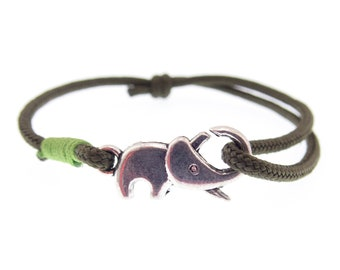 Cool Mens Rope Bracelet. Brown Braided Adjustable Climbing Elephant Charm Unisex Jewelry. 2 mm