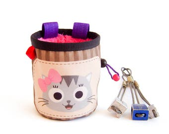 Childrens Chalk Bag Climbing, Children's Chalk Bag Handmade, Cat Chalk Bag Gym