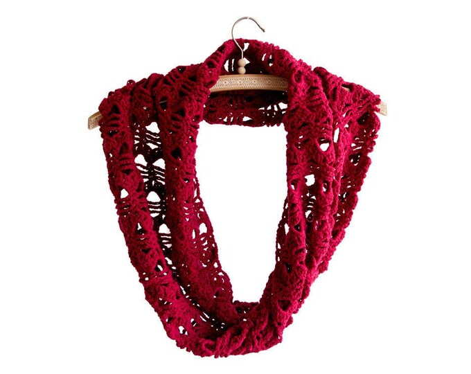 Infinity Scarf Women, Women's Infinity Scarf Crochet, Women's Lightweight Infinity Scarf Winter Knit Loom Lightweight