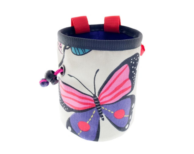 Pink Chalk Bag, Handmade Rock Climbing Cool Bucket Chalk Bag with Belt, Womens White Canvas Purple Butterfly. M Size