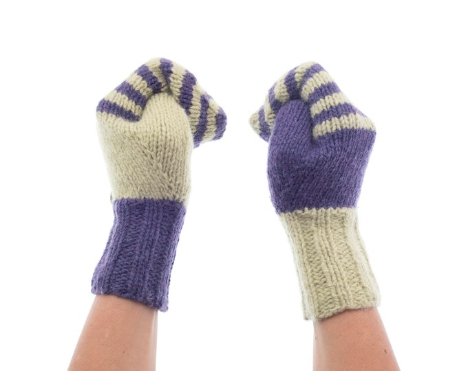 Ladies Gloves Without Fingers, Ladies Gloves Cashmere, Ladies Cashmere Gloves for Winter. Unusual Outdoor Wool Knit Mittens Purple