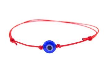 Red String Blue Evil Eye Bracelet. Simple Bracelet Minimalist. Lucky Unisex Adjustable Spiritual Buddhist Kabbalah Yoga Mens Bracelet 0.8 mm