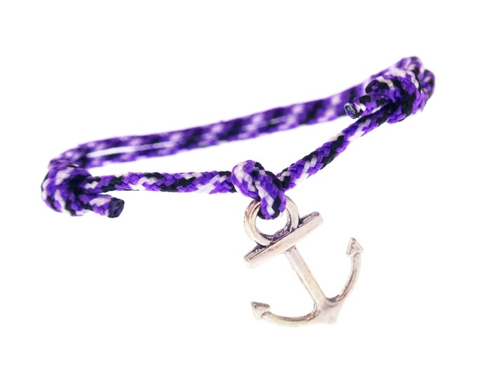 Nautical Rope Bracelet Men, Sailing Anchor Braided Paracord Jewelry, Marine Cord Mens Bracelet. 2 mm