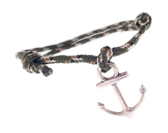Surfer Bracelet Men Women, Surf Gift for Guys, Braided Cord Anchor Jewellery, Men's Boho Cord Bracelet. 2 mm