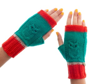 Fingerless Mittens Womens, Owl Cashmere Wool Mitts, Knitted Ladies Crochet Gloves