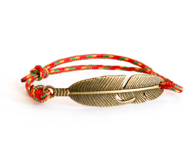 Feather Bracelet, Feather Jewellery, Feather Jewelry, Paracord Bracelet Feather Bar, Lucky Feather Bangle Bracelet