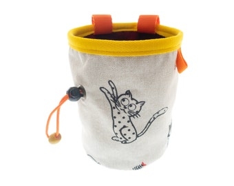 Magnesium Bag Climbing, Klettern Chalk Bag Cat and Yellow Design, Valentine and Xmas Gift for Rock Climbing Woman and Men. L Size