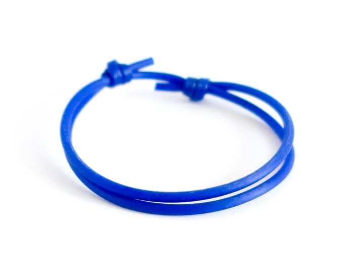 Sliding Knot Bracelet, Adjustable Slip Slider Friendship Jewelry, Simple Silicone Rubber Mens Bracelet. 2 mm