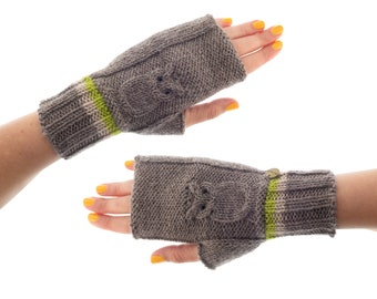Gloves Fingerless, Ladies Cashmere Fingerless Winter Mittens, Womens Funky Owl Half Gloves