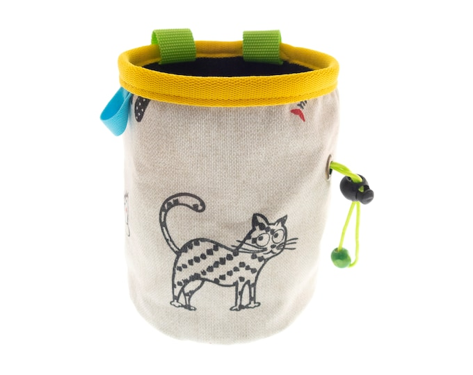 Chalk Pouch Rock Climbing, Mens and Womens Climbers Fabric Chalk Bag with Cats. L Size