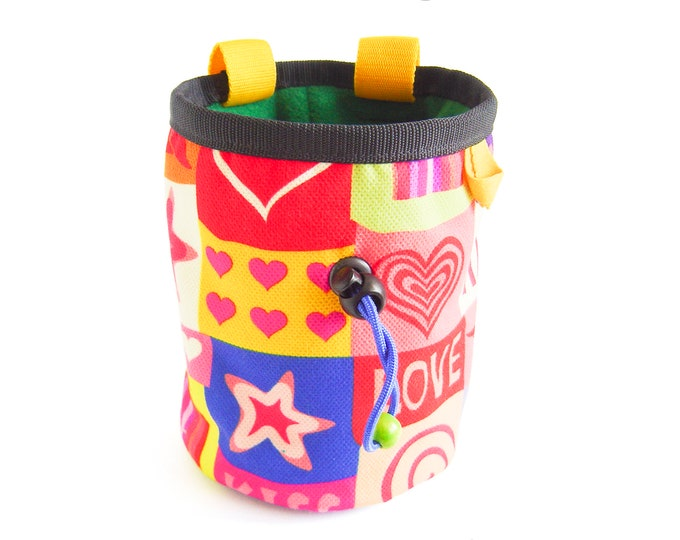 Climbing Chalk Bag. Climbing Chalk Bucket Bag, Big Climbing Chalk Bag for Rock and Sport Climb Large, Best Cute Love L Size