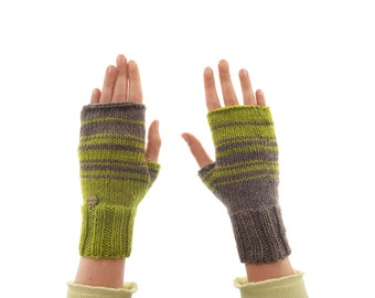 Gloves Fingerless Womens, Crochet Cashmere Brown Green Arm Warmers, Designer Fashion Ladies Mittens for Typing