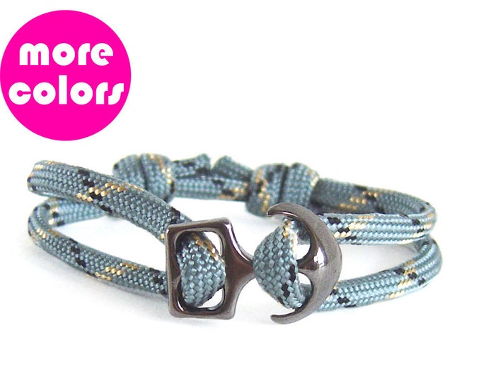 Anchor Bracelet for Men. Anchor Bracelet Clasp. Men's Bracelet with Anchor. Grey Rope String Mens Womens